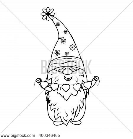 Gnome With Garland Coloring Book For Kids, Vector Illustration Black Outline, Children's Creativity,