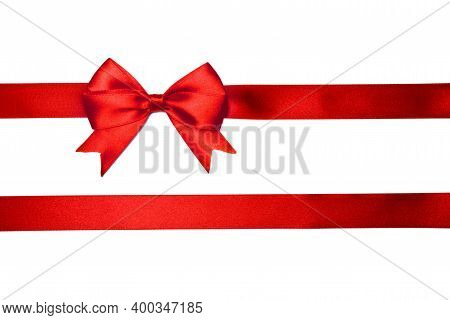 Red Satin Holiday Bow On White Background