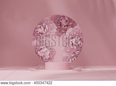 3d Display Podium Pastel Pink Flower  Background. Peony Blossom, Round Copy Space For Woman. Nature