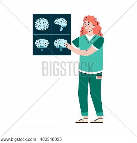 Doctor Neurologist With X-ray Scan Of Human Brain, Flat Cartoon Vector Illustration Isolated On Whit