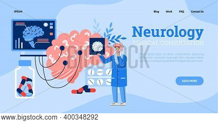 Vector Landing Page Template With Doctor Neurologist Studying Pictures X-ray, Eeg, Mrt Scans Of Huma