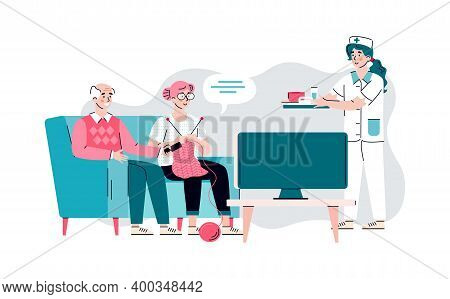Nurse Serving Food To Nursing Home Residents, Cartoon Flat Vector Illustration Isolated On White Bac