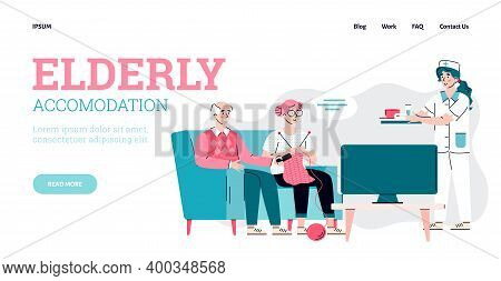 Design Web Site For Nursing Home. Female Doctor Nurse Care For Elderly People Watching Tv. House For