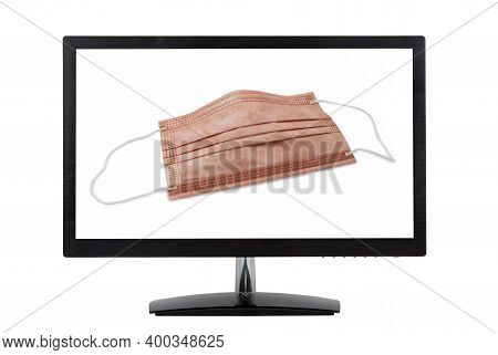 Medical Protective Mask With Copper Oxide On Computer Monitor