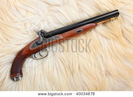 Vintage large-bore hunting pistol (.58 cal.) British colonial weapon from the early 19th century. This gun's use as the last line of defense against an attacking tiger and other dangerous animal.
