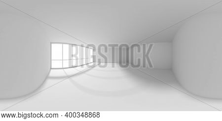Hdri Environment Map Of Empty White Office Room With Empty Space And Sun Light From Big Window, Whit