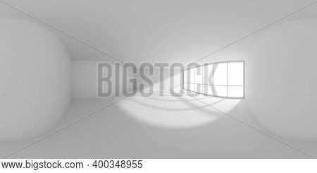Hdri Environment Map Of Empty White Business Office Room With Empty Space And Sunlight From Big Wind