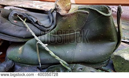 Old Worn Discarded Leather Boot