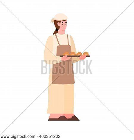 Baker Holding Fresh Baked Bread. Bake Industry, Production. Vector Isolated Illustration