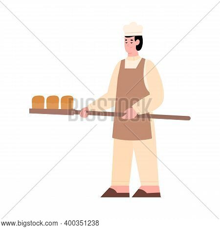 Baker Holding Fresh Baked Bread On Wooden Stove Shovel, Flat Cartoon Vector Illustration Isolated On