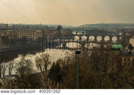 Prague, Czech Republic. 03-11-2020. Panoramic View Of Prague Historical Town And The Bridges Crossin