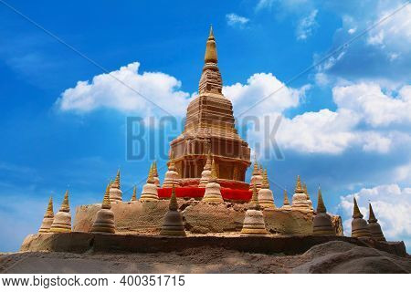 Big And Little Sand Pagoda Was Carefully Built, And Beautifully Decorated Songkran Festival