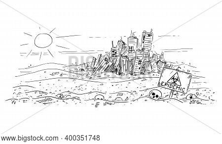 Vector Cartoon Drawing Or Illustration Of Abandoned Desert Landscape With Bones And Skulls, Abandone