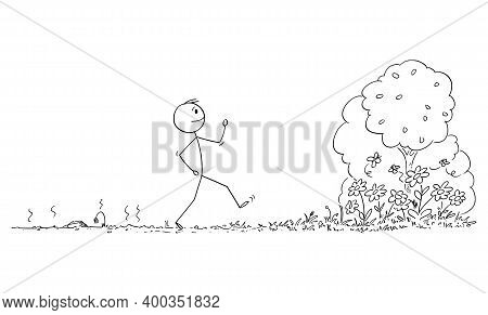 Vector Cartoon Stick Figure Illustration Of Man Walking From Place With Dying Plants, Nature Or Ecos