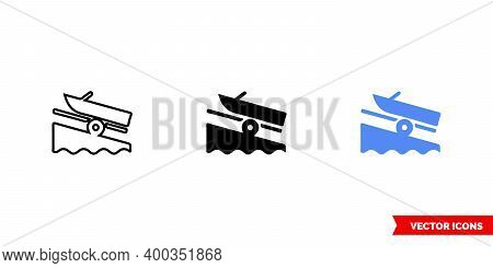 Map Symbol Boat Launch Icon Of 3 Types Color, Black And White, Outline. Isolated Vector Sign Symbol.