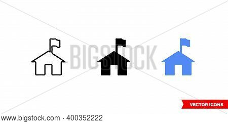 Map Symbol Ranger Station Icon Of 3 Types Color, Black And White, Outline. Isolated Vector Sign Symb