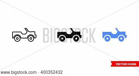 Map Symbol 4-wheel-drive Road Icon Of 3 Types Color, Black And White, Outline. Isolated Vector Sign