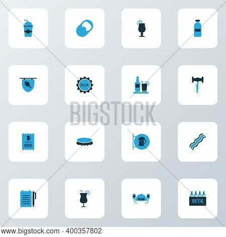 Beverages Icons Colored Set With Tequila, Opener, Corkscrew And Other Case Of Beer Elements. Isolate