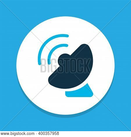 Satellite Connection Icon Colored Symbol. Premium Quality Isolated Telecommunication Element In Tren