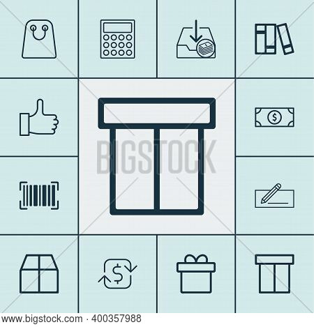 Ecommerce Icons Set With Like, Microcomputer, Incoming Earnings And Other Buck Elements. Isolated Ve