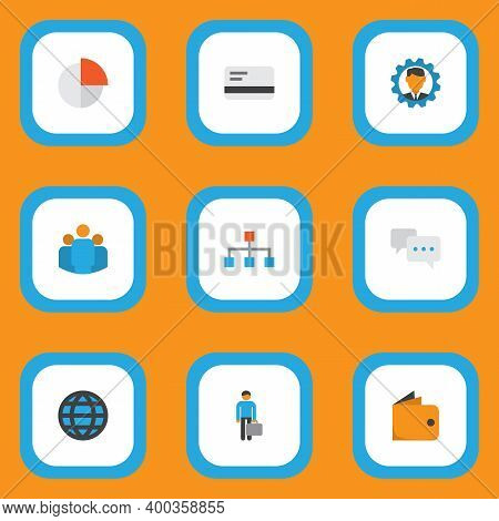 Trade Icons Flat Style Set With World, Manager, Team And Other Pie Bar Elements. Isolated Vector Ill