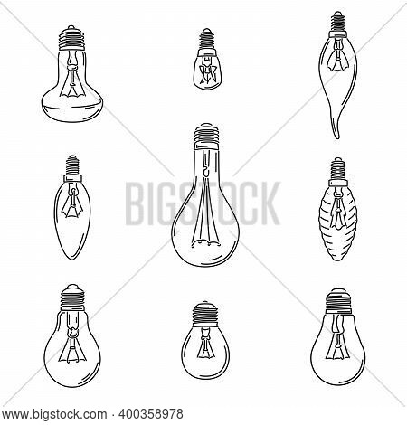 Set Of Simple Vector Images Of Incandescent Lamp Bulb Drawn In Art Line Style.