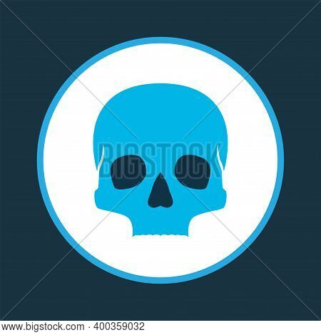 Skull Icon Colored Symbol. Premium Quality Isolated Cranium Element In Trendy Style.
