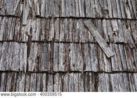 A Shingle Roof In Lithuania, Suminai Ethnographic Village. Traditional Roofing Of Ancient Houses.