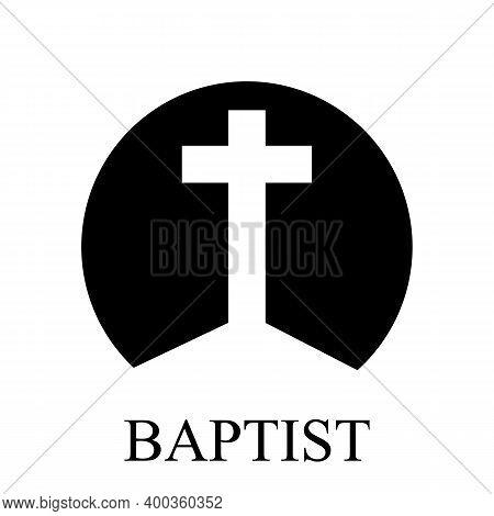 Baptist Cross Logo, Christian Vector Art Illustration.