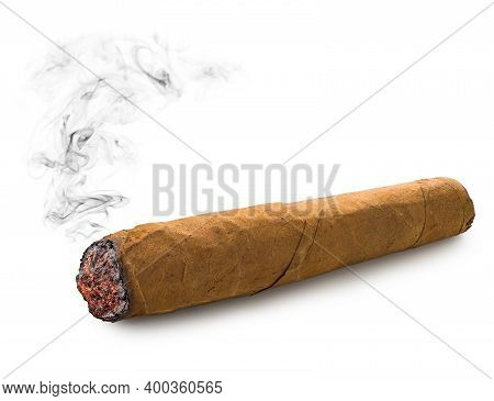 One Cuban Cigar Isolated On A White Background