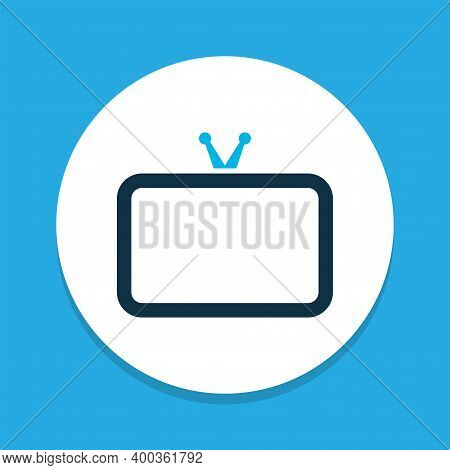 Tv Icon Colored Symbol. Premium Quality Isolated Television Element In Trendy Style.