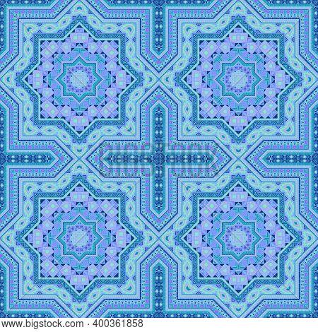 Delicate Italian Maiolica Tile Seamless Pattern. Ethnic Geometric Vector Elements. Bedcover Print De