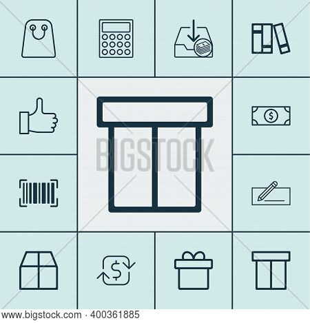Ecommerce Icons Set With Like, Microcomputer, Incoming Earnings And Other Buck Elements. Isolated Il