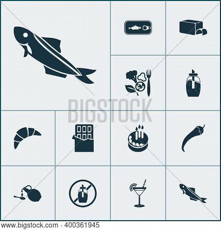 Meal Icons Set With Birthday Cake, Pepper, Sardine And Other Chili Elements. Isolated Illustration M