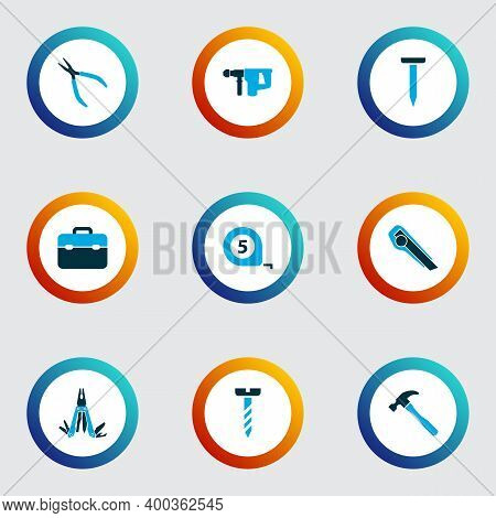 Repair Icons Colored Set With Multi Tool, Bolt, Electric Instrument And Other Repair Elements. Isola
