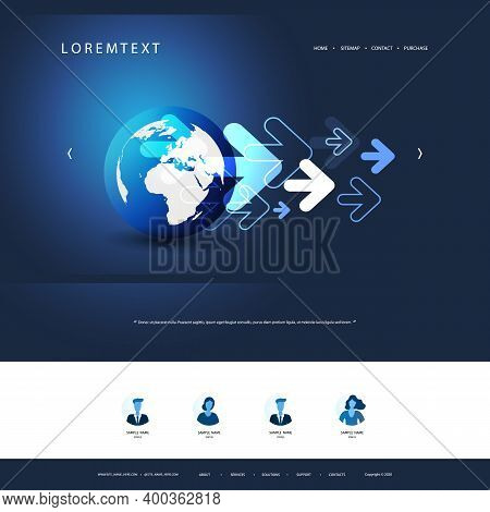 Technology Website Design Template For Your Business With Earth Globe And Arrows