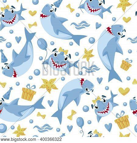 Baby Shark Birthday Seamless Pattern - Cartoon Birthday Party Seamless Digital Paper, Vector Nursery