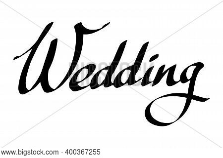 Wedding Lettering. Black Ink Handwriting With Heart Shape Isolated On White Background. Invitation C