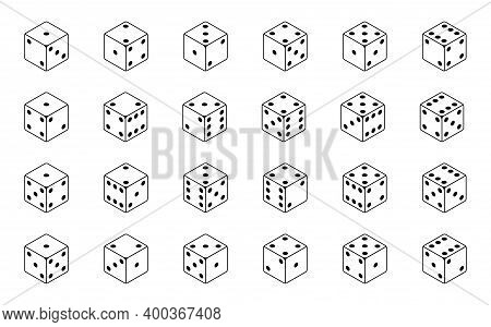Set Of Isometric Dice Combination. Poker Gambling Cubes For Casino Isolated Black And White Vector I