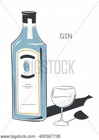 Dry Gin In Bottle With Label, Glass With Drink