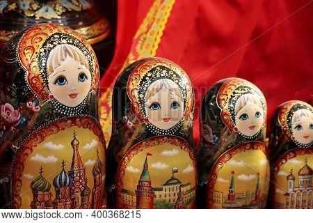 Russian Nesting Dolls In The Souvenir Shop. Traditional Wooden Matryoshka Dolls