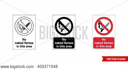 Prohibitory Sign No Naked Flames In This Area Icon Of 3 Types Color, Black And White, Outline. Isola