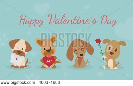 Happy Valentine's Day With Cute Dogs Vector. Dog Carries Rose To Friends. The Dog Is Shy And Smiling