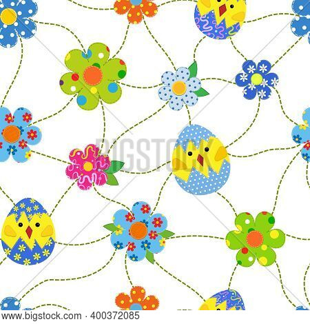 Seamless Easter Pattern With Patchwork Hens And Chickens In An Egg In Patchwork Style.
