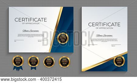 Blue And Gold Certificate Of Achievement Template Set With Gold Badge And Border. Award Diploma Desi
