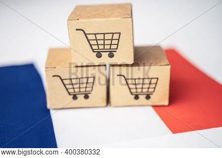 Box With Shopping Cart Logo And France Flag, Import Export Shopping Online Or Ecommerce Finance Deli