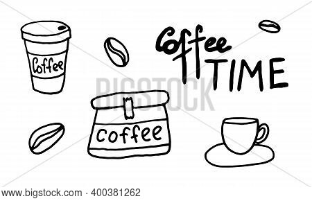 Doodle Coffee Illustration. Simple Outline Drawing. Morning Drink For Breakfast. Hand Drawn Design E