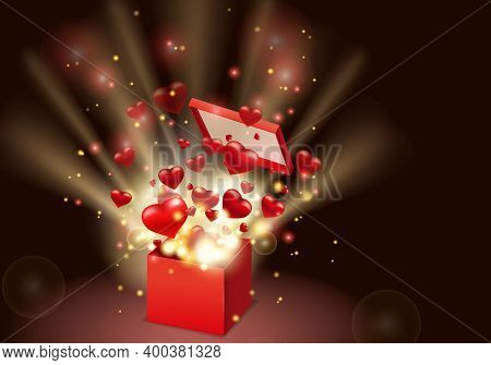 Happy Valentines Day Gift Box Open Present With Flying Hearts And Bright Rays Of Light, Burst Explos