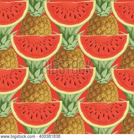 Seamless Pattern With Juicy Watermelon Slices And Pineapple Fruit On A Red Backdrop. Summer Vector B