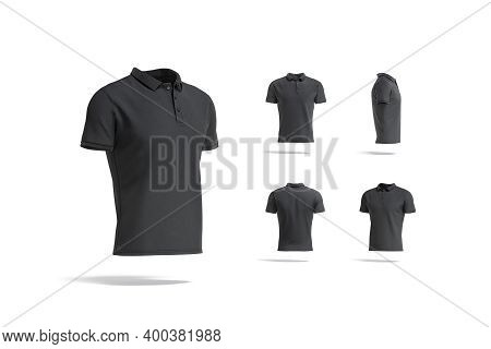 Blank Black Polo Shirt Mock Up, Different Views, 3d Rendering. Empty Classic Cotton Poloshirt Model